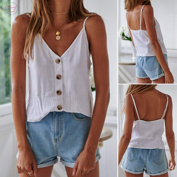 womens button up fashion sleeveless vest female summer button tiered solid vest tank ladies shirt  salidas de playa para mujer