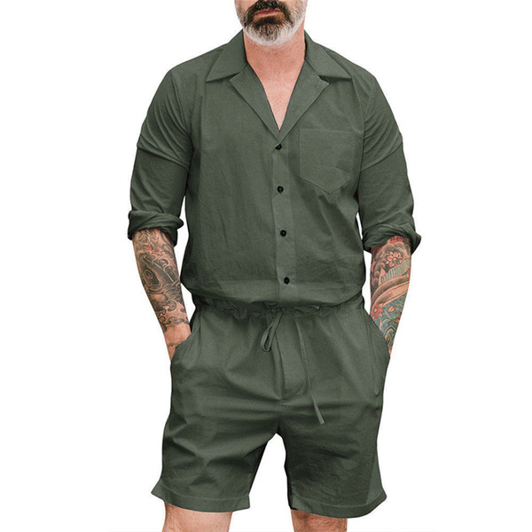 Men's Short One Piece Romper Playsuits man short Sleeve button shorts jumpsuits male Casual Cargo Pants