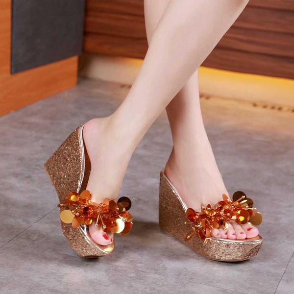 sandalia feminina high platform wedge causal flip flops mules summer leather glitter beading sandals open toe slip on Bohemia woman shoes