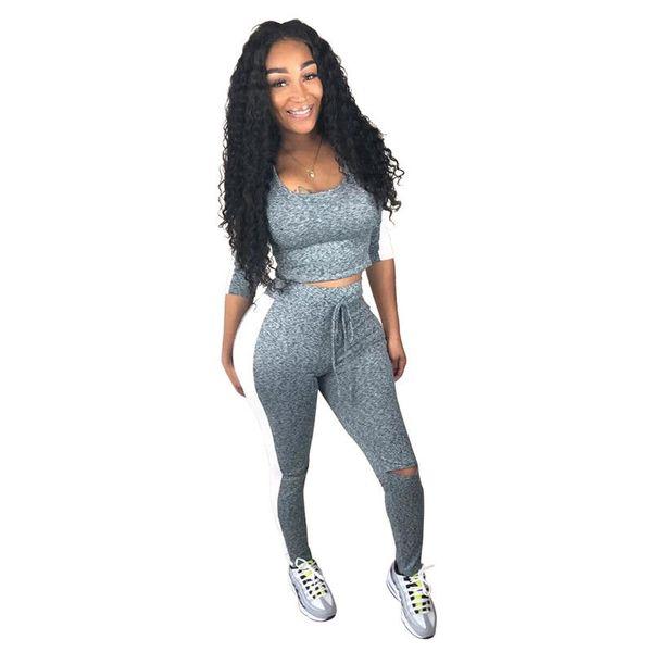 2Pcs Women's Tracksuit Slim Fit Patchwork Casual Tracksuits Sportswear Tops& Pants Sets leisure suits female pants sets new