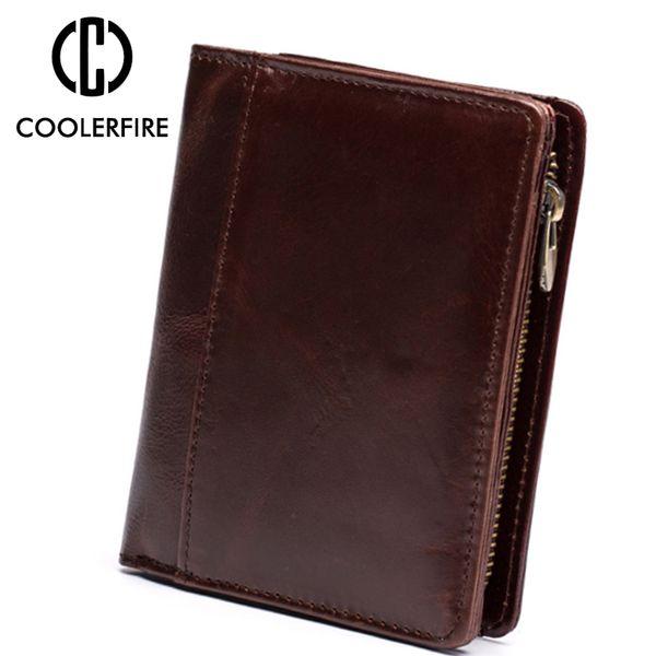 Genuine Cow Leather Short Men Wallet Small Vintage Wallets For Men Brown Clutch Bag Coin Bag Purse Money Clip Wallet PJ123