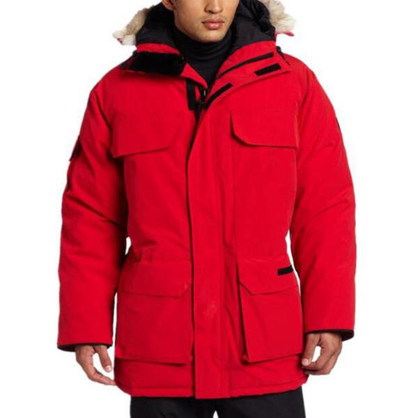 Lüks Kanada Kış Ceket Erkek Tasarımcı Aşağı Parka Dış Giyim Büyük Kürk Kapşonlu Kanada Aşağı Ceket Kaban XSbedeni-XXL