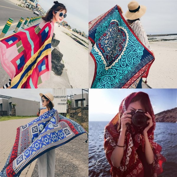 34 Colors Ethnic Style Cotton Linen Scarf Woman Summer Seaside Travel Super Large Sunscreen Beach Scarf Wholesale Free Shipping Shawl