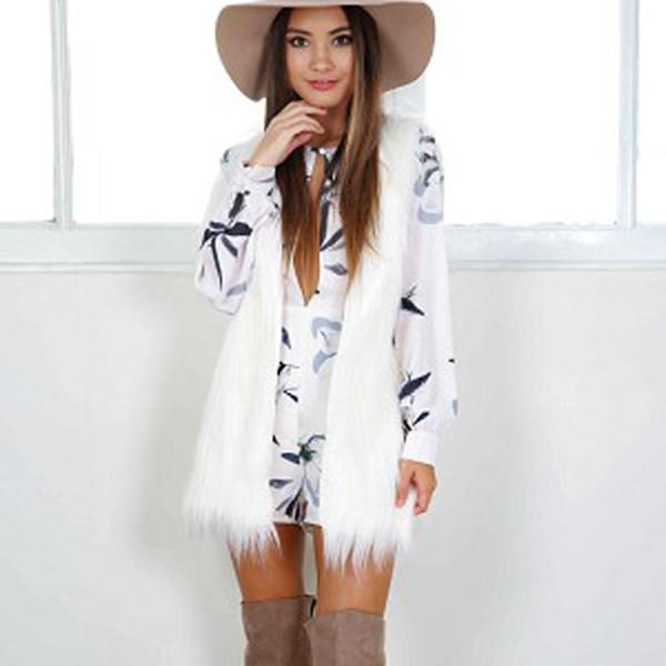 Compre Chaleco De Dama De Piel Falsa Otoño Invierno Chalecos Para Mujer Sólido Negro Blanco Chaleco Sin Cuello Abrigo Mujer Otoño Prendas De Vestir