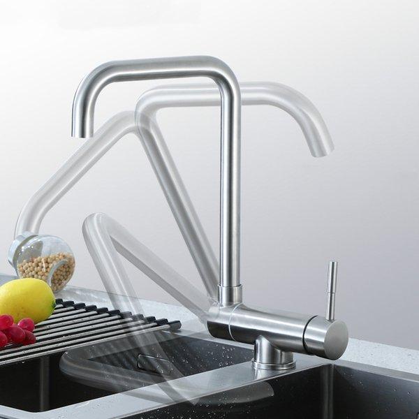 Robinet de cuisine caché libre rotatif évier mélangeur d'eau monotrou pont montage 304 surface en acier inoxydable brossé qualité robinet