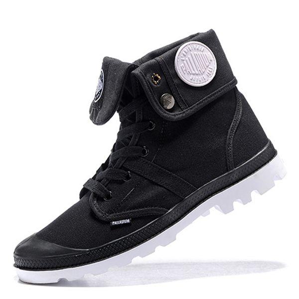 Più economico Nuova PALLADIUM Pallabrouse Mens alta esercito militare della caviglia stivali da donna in Canvas Sneakers Uomo casuale Anti-Slip Designer White Shoes 35-45