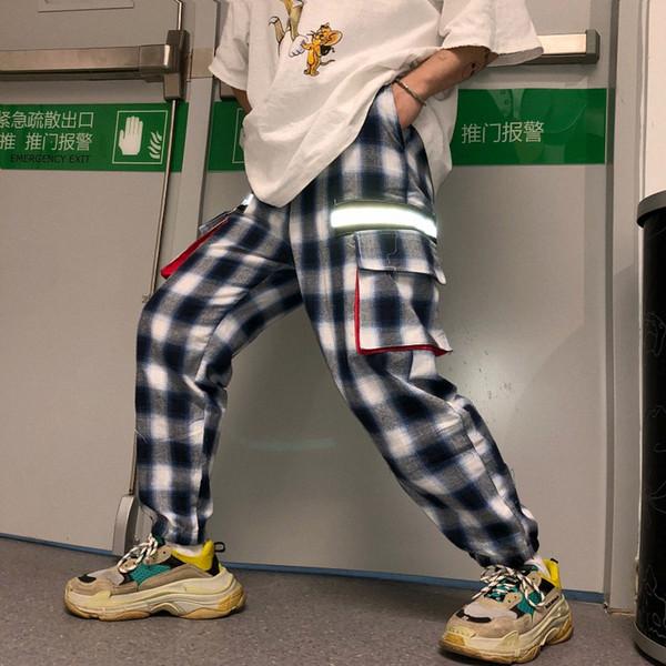 Kadınlar ve erkek tasarımcı eşofman altı Kore Uzzang Harajuku Sokak Hip-Hop Japon Retro Kafes Alt Gevşek Yansıtıcı Şerit Spor Pantolon