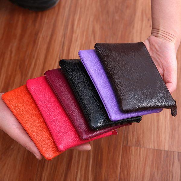 Erkek Kadın Deri Mini Cüzdan Düz Renk Sadece Para Anahtar Cep Cüzdan Deri Kart Para Saklama Çanta Dayanıklı Unisex Cüzdan VT1593
