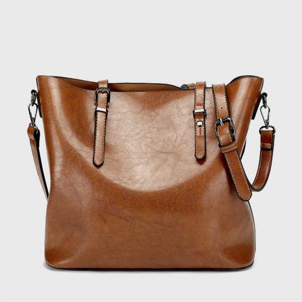 2019 Fashion Women Handbag PU Women Bag Large Capacity Oil Wax Leather Shoulder Casual Tote Crossbody Bag