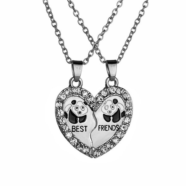 Best Friends Necklaces Half Love Heart Rhinestone Panda Pendant Necklace Gift For Couple colar kolye collier collares Friendship Necklaces