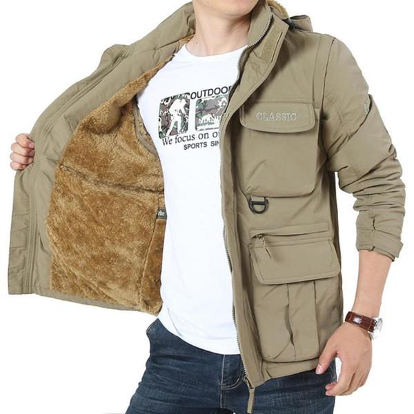 Mens Winter Outdoors Jackets Plus Size Detachable Sleeve Hooded Outdoor Plus Velvet Mountaineering Sportswear Windproof Coats