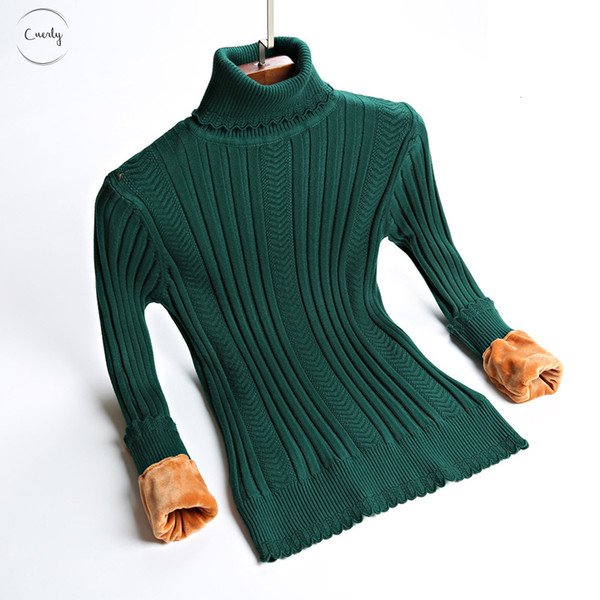 Sweater Size Plus S 2Xl Thick Warm Women Pullover Fashion Knitted With Velvets Jumper Top Rib Turtleneck Female Silm Sweater