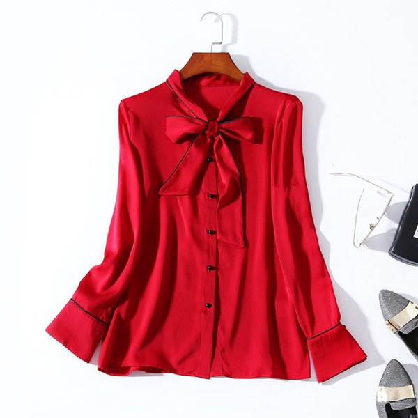 2019 Ladies Luxury Newest Pure Color Tied Front 920% Silk O Neck Blouse Women Long Sleeve Piping Elegant Shirt Shirts N30BBS81182