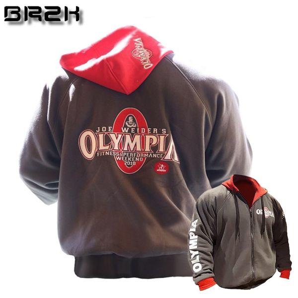2018 OLYMPIA Mens zipper Hoodies Fashion Casual male gyms fitness Bodybuilding cotton Sweatshirt sportswear Brand top coat