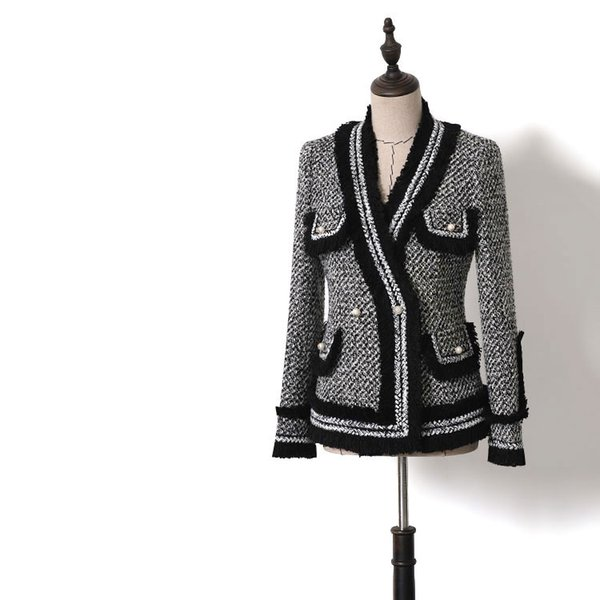 Baroque Designer Career Blazer Patchwork Women Contrast Color Tweed Jacket Tweed V Neck Pearl Buttons Tassel Blazer
