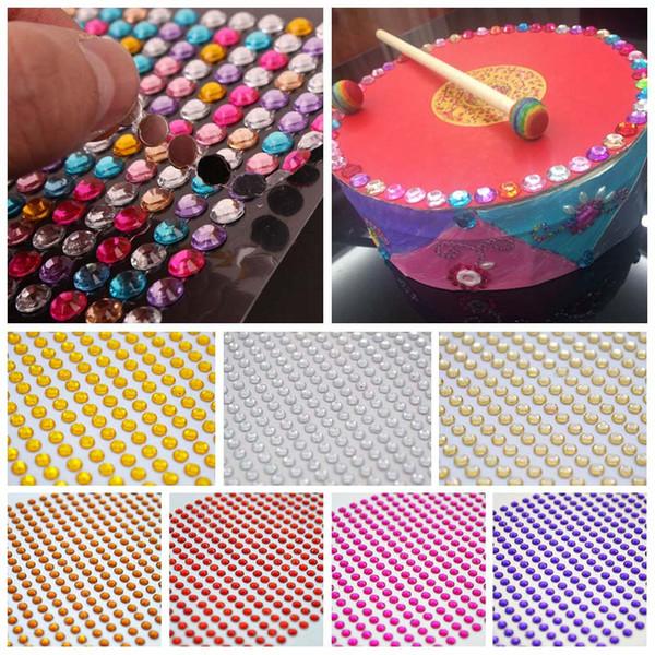 Strass de tissu de couture de vêtements IY 900Pcs / feuille 4mm strass auto-adhésifs autocollants acryliques Flatback bricolage artisanat Mobile / Car Decor Nai ...