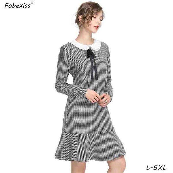 Elegant Ruffled Houndstooth Dress Women 5XL Plus Size Bow Peter Pan Collar  Office Lady Dresses Midi Long Sleeve Fall Dress Women Red Prom Dresses ...