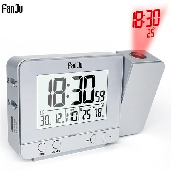 Fanju FJ3531 Projeksiyon Çalar Saat Dijital Tarih Erteleme Fonksiyonu Arka Işık Dönebilen Uyandırma Projektör Çok Fonksiyonlu Led Saat
