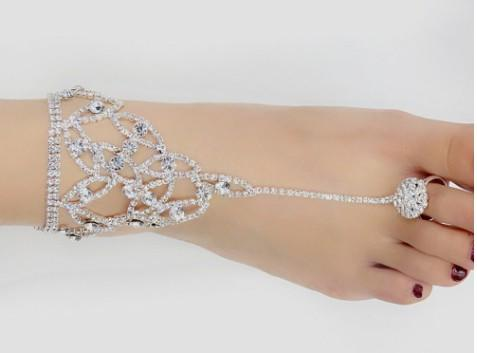 Beach Wedding Ankle Chain Toe Hasse Full Rhinestone Crystal Silver Tone Anklet Chain Bridal Barefoot Sandals