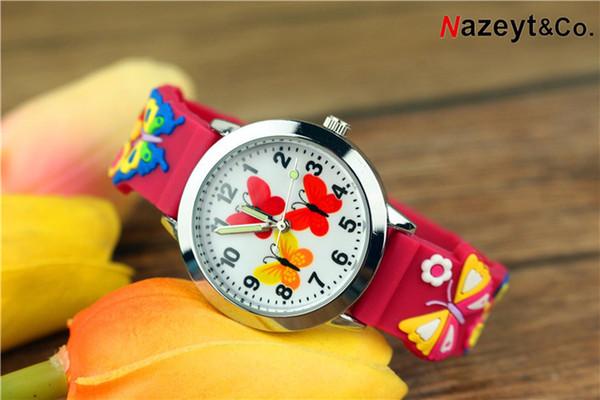 Orologio da gelatina per orologio da uomo al quarzo luminoso con faccia di farfalla rossa e gialla da cartone animato 3D per bambini e ragazzi