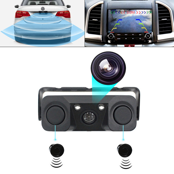 3 In1 Parking Sensor Kit 2 Sensors + Rear View Camera Car Parktronic Camera Auto Reversing Rearview Backup Parking Radar Buzzer