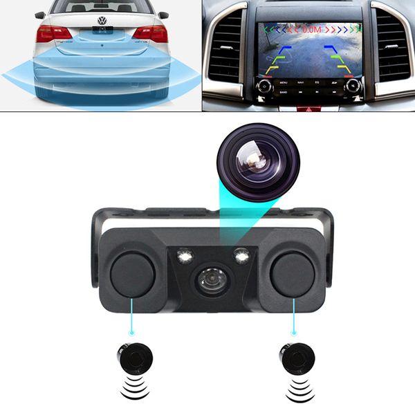 3-in-1-Parksensorsatz 2 Sensoren + Rückfahrkamera Auto-Parktronic-Kamera Auto-Rückfahr-Reserveparkradar-Summer
