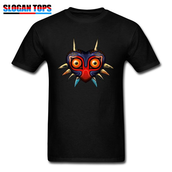 Gamer Tshirt Men Hip Hop Majoras Mask T Shirt Zelda 100% Cotton T-Shirt Legend Of Zelda Cartoon 3D Print Clothes Black Tops