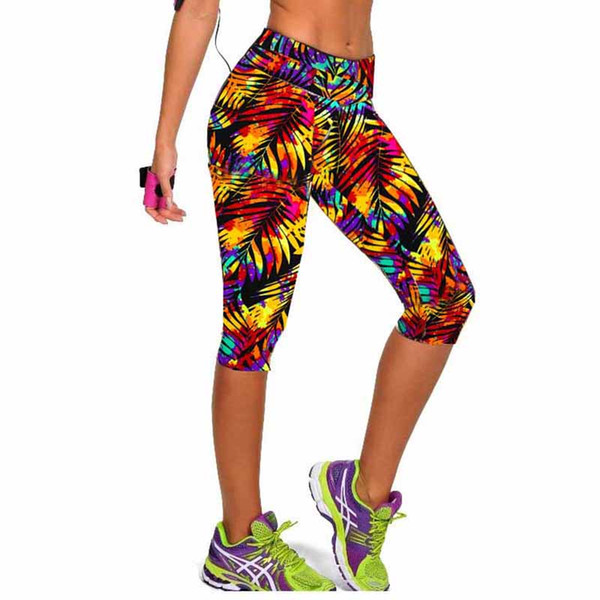Frauen Fitness Hohe Taille Sport Capri Cropped Leggings Workout Bodybuilding Gymming Läuft Hosen Übung Yoga Kleidung V50