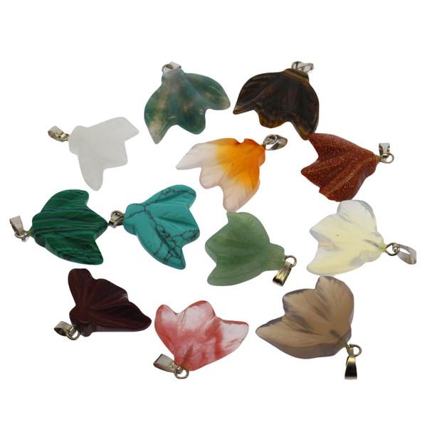 Natural gemstone carving leaves shape agate stone pendant set 12 mixed color semi-precious stone pendant wholesale