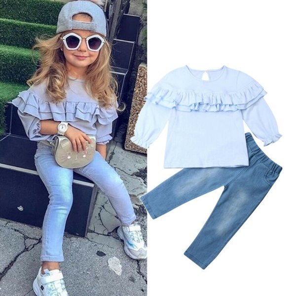 Nueva tela de algodón de color sólido volante Diseño casual de manga larga de la niña de la ropa 2pcs de las tapas + dril de algodón blusa y pantalones largos establece 1-6T