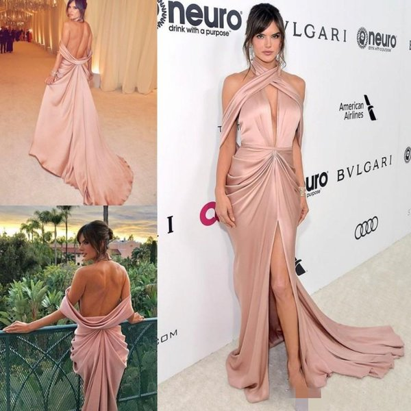 Sexy Backless Prom Dresses Halter Plunging Neckline Front High Slit Pleats Long Formal Celebrity Evening Gowns Cheap Cocktail Party Dress
