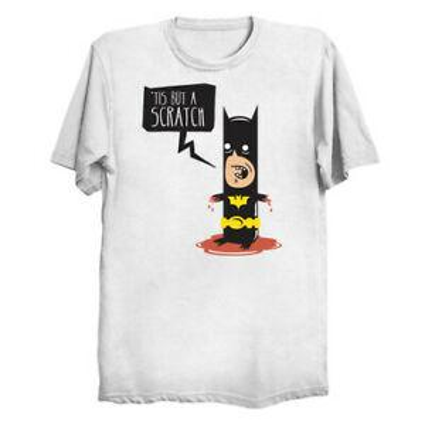 039 Tis Mas Uma Camisa Scratch Darkest BlaShirt Cavaleiro Monty Python Paródia Camisa Branca T