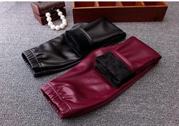New Winter Childrens Korean Style Fashion Black Casual Pants Girls Skinny PU Leggings Pants Warm Velvet Leggings