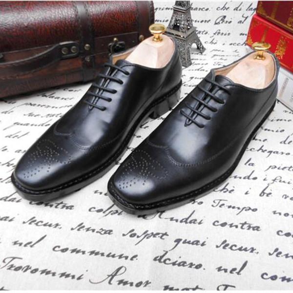 SIPRIKS Mens entiers coupés richelieus importés en cuir de veau Balck Brogue robe chaussures talons à coudre fil de couture formelle costumes de smoking Gents 46