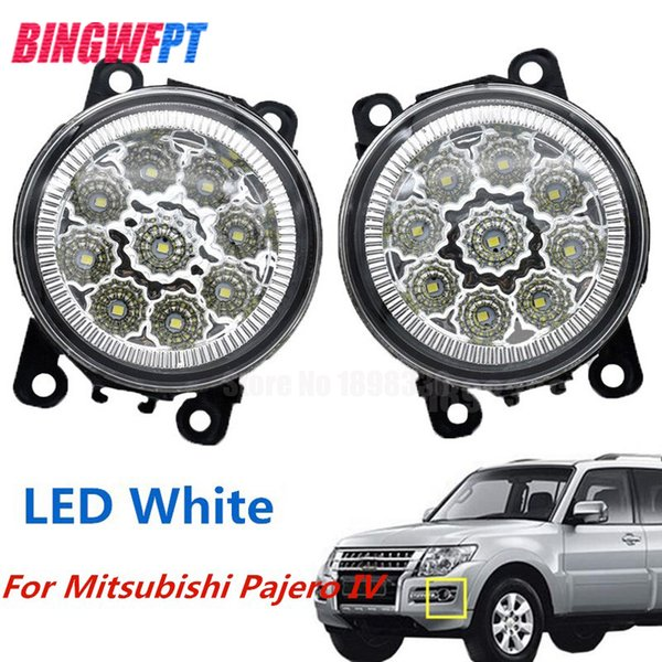 2PCS Car Styling LED Front Fog Lights white yellow Round Bumper lamps For Mitsubishi Pajero IV V8_W V9_W Closed Off-Road Vehicle 2007-2012