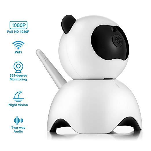 1080P HD Smart Panda Wi-Fi Network Ip Security Camera Intelligent Ip Camera Cute Panda-Shaped Webcam for Indoor Home Security