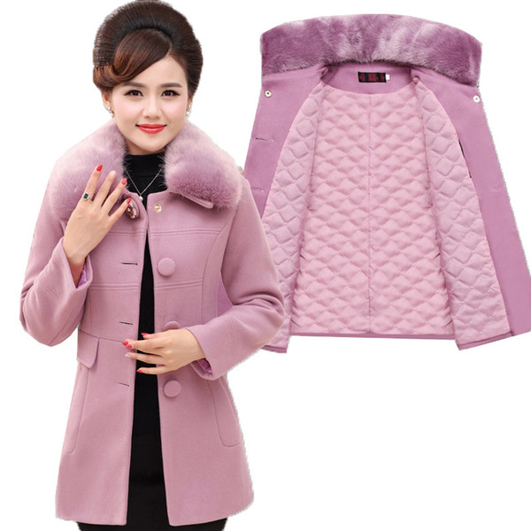 Winter Woolen Jacket Women 2018 Fashion Fur Collar High Quality Wool Coat Thick Cotton Middle-aged Mother Clothes Plus Size B127