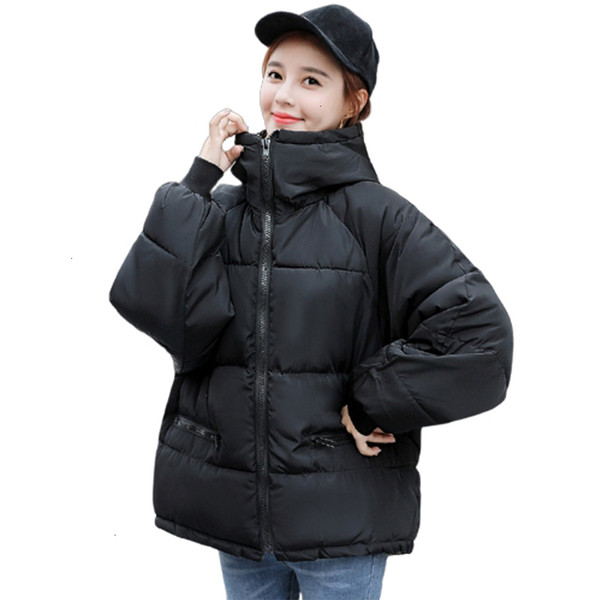 2019 donne di inverno Giacca corta cappucci delle donne con il basamento collare -Fino Parka Cato grasso con Herf nuovo cappotto di moda