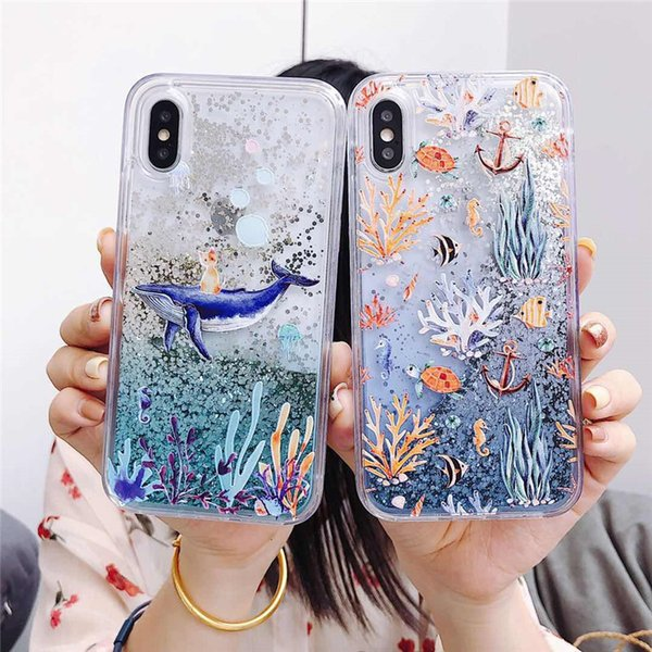 Fashion Whale Case per iPhone XR XS MAX Custodie Liquid Bling Quicksand Cover morbida in silicone Coral Cat Fish Case per iPhone 6 6S 7 8 Plus