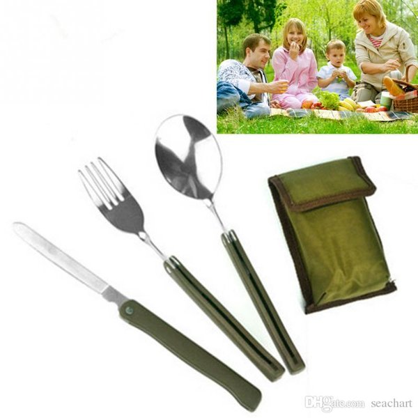 Wholesale Portable Mini Tableware Set outdoor Tool Folding Cutlery Set with Spoon Fork Knives for Camping Picnic Stainless Steel Talher FT04