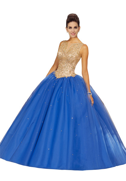 2019 Gold Crystal Beading Quinceanera Dresses Prom Dress Bateau Open Back Sequins Skirt Draped Ball Gowns Party Graduation Dress Plus Size
