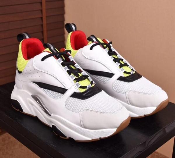 Designer de calçados casuais dos homens de Lona de Malha E Calfskin Formadores Moda Europa Moda Sneaker Novas Sapatilhas B22 Trainer Técnica de Malha 10