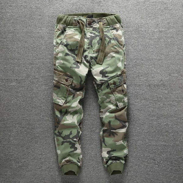Men's Camouflage Pants 100%Cotton Spring Autumn Multi-pocket Casual Overalls Straight Washed Trousers Full Length Cargo Pants