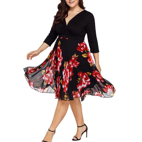 Plus Size 5XL Summer Midi Dress Women Vintage Floral Print V Neck Party Dresses Loose Casual Dresses Vestidos