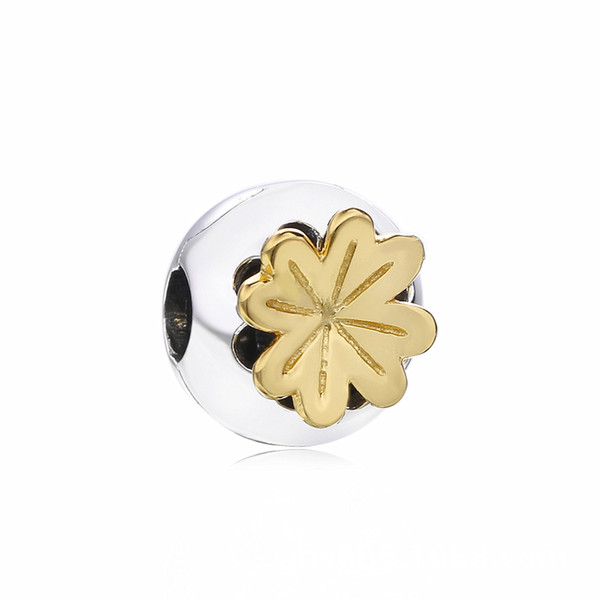 2019 Spring 925 Sterling Silver Shining Clover Clip Charm Bead For European Pandora Jewelry Charm Bracelets & Necklaces