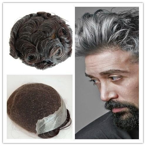 Q6 Grey Toupees Swiss Frace Lace Ajouter Pu Cheveux Humains Hommes Perruque Postiches Système de Remplacement Durable Respirant Toupets Vierges Cheveux Weavy