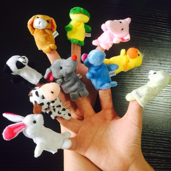 1set Cartoon animal Finger Puppets Happy Family doux velours Poupées Jouets Props Birthday Party Decoration Kid cadeau (motif aléatoire)