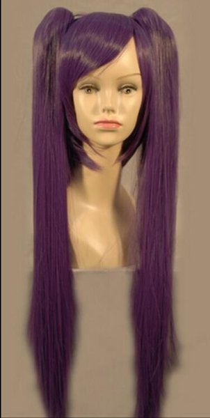 WIG free shipping Vocaloid Miku Long Purple Anime Costume Cosplay Party Hari wig + two pigtails
