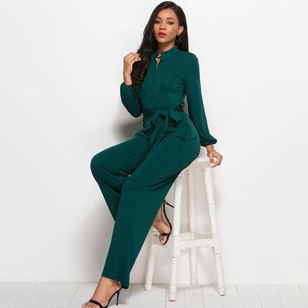 Women's Long Sleeve Lace Up Wide Leg Jumpsuit 2018 Autumn Female Fashion Loose Rompers Ladies Elegant Sashes Clothes Plus Size