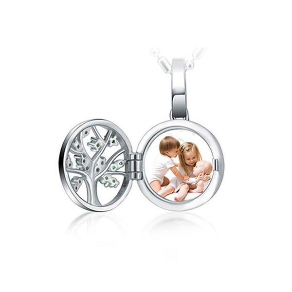 XiaoJing Engraved Unique Family Tree Of Life Photo Locket Necklaces 925 Sterling Silver Custom Necklaces Jewelry free shipping